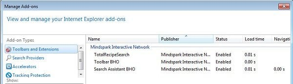 total recipe search toolbar removal internet explorer