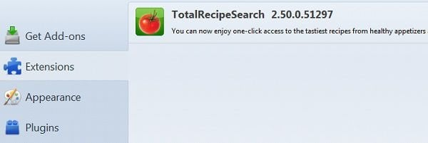 total recipe search toolbar removal mozilla firefox