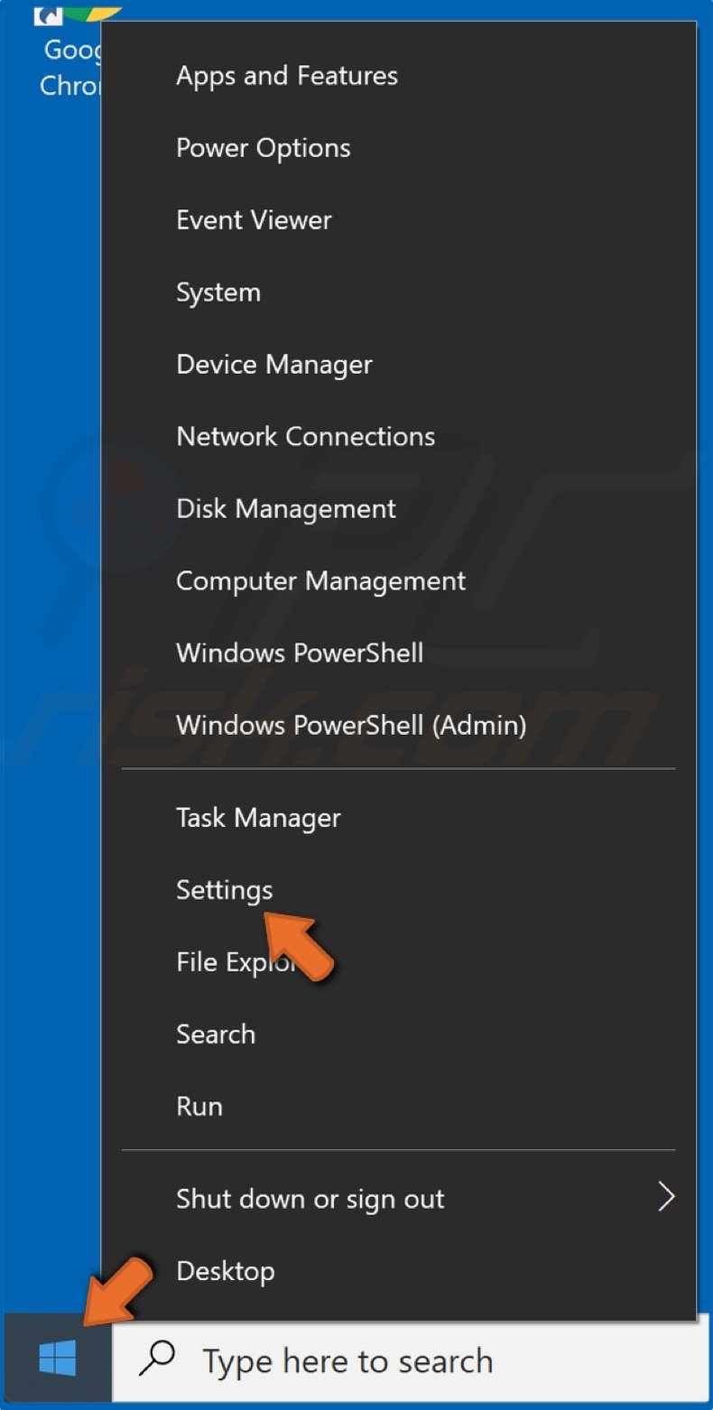 Right-click Start Menu and click Settings