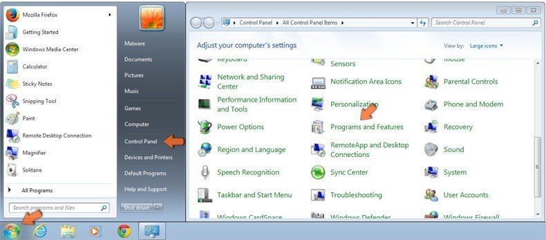 Accessing Programs and Features (uninstall) in Windows 7