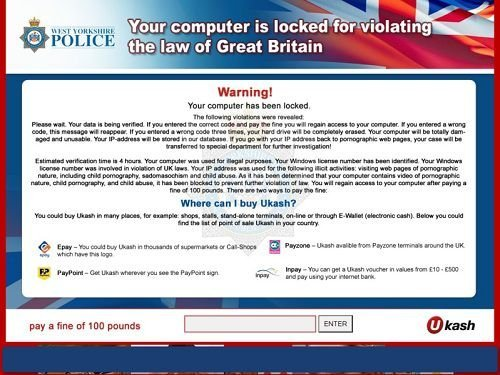 violating the law of great britain scam screen locker