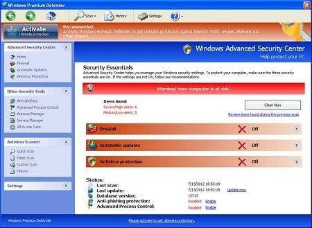 Windows Premium Defender screenshot