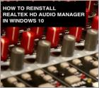 How To Reinstall Realtek HD Audio Manager?