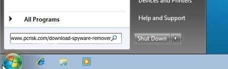 download remover using run dialog in Windows 7